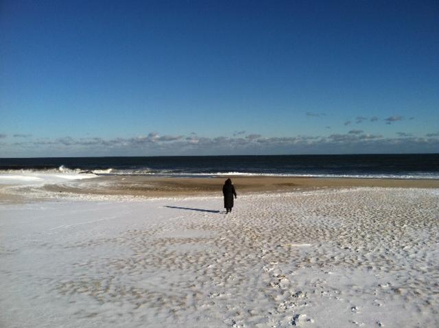Oma Walking Toward Shells