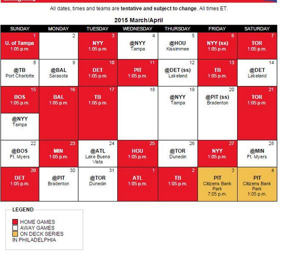 Phils Schedule ST 2015
