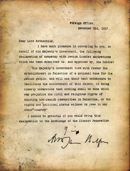 Balfour's Original Declaration